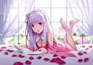 Rating: Safe Score: 205 Tags: barefoot bed blush book breasts cleavage dress emilia petals purple_eyes re:zero_kara_hajimeru_isekai_seikatsu white_hair yin. User: RyuZU