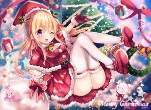 Rating: Safe Score: 98 Tags: bell blonde_hair christmas gloves kohaku_muro long_hair original purple_eyes thighhighs wink User: BattlequeenYume