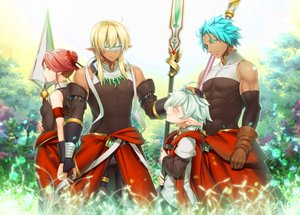 Rating: Safe Score: 31 Tags: aqua_hair blindfold blonde_hair elbow_gloves gloves green_eyes group kuro_mame male original pixiv_fantasia pointed_ears red_eyes red_hair ribbons short_hair spear weapon User: RyuZU