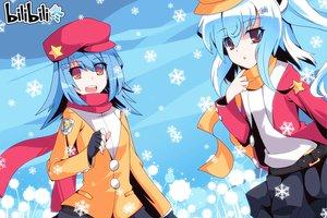 Rating: Safe Score: 31 Tags: auer bili_bili_douga bili_girl_22 bili_girl_33 blue_hair hat orange_eyes red_eyes scarf snow User: Wiresetc