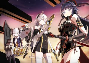 Rating: Safe Score: 74 Tags: black_hair blue_eyes bow braids breasts bronya_zaychik cleavage elbow_gloves gloves gray_hair gun honkai_impact kiana_kaslana long_hair nosuku purple_eyes raiden_mei sunset sword thighhighs twintails weapon User: SciFi
