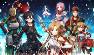 Rating: Safe Score: 25 Tags: andrew_gilbert_mills armor ayano_keiko black_eyes black_hair blush braids brown_eyes brown_hair dark_skin elbow_gloves gabiran gloves group kirigaya_kazuto long_hair male pink_eyes pink_hair shinozaki_rika short_hair skirt sword sword_art_online thighhighs tsuboi_ryoutarou weapon yui_(sword_art_online) yuuki_asuna User: RyuZU