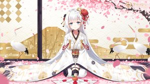 Rating: Safe Score: 179 Tags: anthropomorphism aqua_eyes azur_lane breasts food fruit gloves japanese_clothes long_hair maya_g orange_(fruit) petals shoukaku_(azur_lane) white_hair User: luckyluna