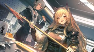 Rating: Safe Score: 47 Tags: 2girls animal_ears arknights blonde_hair cake ceobe_(arknights) food gray_hair horns logo red_eyes shirataki_jiro short_hair spear vulcan_(arknights) weapon User: Nepcoheart