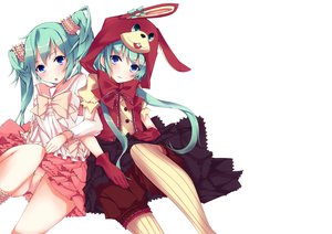 Rating: Safe Score: 136 Tags: 2girls aqua_hair blue_eyes bunny_ears bunnygirl hatsune_miku lots_of_laugh_(vocaloid) natsuki_yuu panties underwear vocaloid User: FormX
