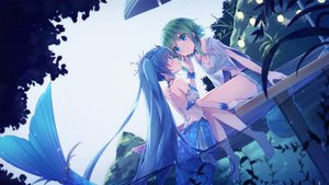 Rating: Safe Score: 81 Tags: 2girls barefoot blue_hair breasts cleavage green_hair gumi hatsune_miku long_hair mermaid navel sakakidani short_hair shorts shoujo_ai twintails vocaloid water User: BattlequeenYume
