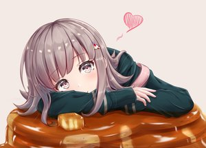 Rating: Safe Score: 51 Tags: cake dangan-ronpa dangan-ronpa_2 food gray_hair heart long_hair nanami_chiaki pink_eyes y3010607 User: otaku_emmy