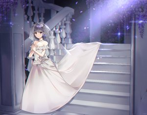 Rating: Safe Score: 30 Tags: breasts cleavage dress flowers headdress necklace original poho purple_eyes purple_hair short_hair stairs tiara wedding_attire User: Dreista