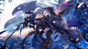 Rating: Safe Score: 70 Tags: 2girls animal arknights bubbles gloves gray_hair gun long_hair nun red_eyes skadi_(arknights) specter_(arknights) tentacles thighhighs underwater usagihime water weapon User: RyuZU