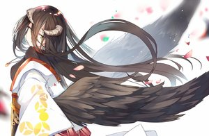 Rating: Safe Score: 93 Tags: albedo brown_hair demon feathers japanese_clothes kimono long_hair mitu_yang necklace overlord petals wings yellow_eyes User: luckyluna