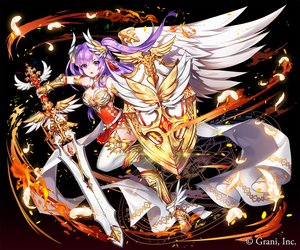 Rating: Safe Score: 42 Tags: applecaramel_(acaramel) armor breasts cleavage dress feathers fire gradient kurokishi_to_shiro_no_maou long_hair magic purple_eyes purple_hair sword twintails weapon wings User: otaku_emmy