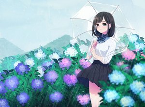 Rating: Safe Score: 9 Tags: black_hair blue_eyes blush bow flowers musco original rain seifuku short_hair skirt umbrella water User: otaku_emmy