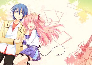 Rating: Safe Score: 72 Tags: angel_beats! blue_hair guitar hinata_hideki instrument kousetsu pink_hair seifuku tail yui_(angel_beats!) User: HawthorneKitty