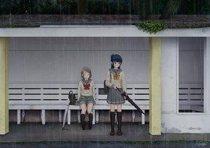 Rating: Safe Score: 24 Tags: 2girls kneehighs love_live!_school_idol_project love_live!_sunshine!! papi_(papiron100) ponytail rain seifuku signed tsushima_yoshiko umbrella watanabe_you water User: luckyluna