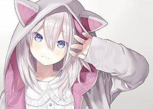 Rating: Safe Score: 47 Tags: animal_ears blue_eyes blush capriccio close gradient gray_hair hoodie original short_hair User: otaku_emmy