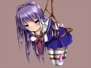 Rating: Questionable Score: 272 Tags: blush bondage brown clannad fujibayashi_kyou fumi11gou long_hair purple_eyes purple_hair rope seifuku thighhighs vibrator User: opai