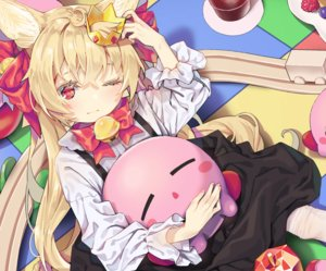 Rating: Safe Score: 31 Tags: agnamore animal_ears apple bell blonde_hair blush bow cropped crown dress drink food fruit kirby_(character) loli long_hair original red_eyes shirt thighhighs wink User: otaku_emmy