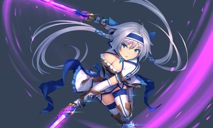 Rating: Safe Score: 71 Tags: aqua_eyes boots breasts cleavage dress gray_hair headband long_hair magic monster_hunter sword tagme_(artist) thighhighs weapon zettai_ryouiki User: RyuZU