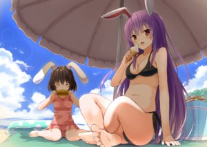 Rating: Safe Score: 42 Tags: 2girls aliasing animal_ears barefoot bikini bluekalmia blush breasts brown_hair bunny_ears bunnygirl clouds food ice_cream inaba_tewi long_hair purple_hair red_eyes reisen_udongein_inaba sky swim_ring swimsuit touhou User: RyuZU
