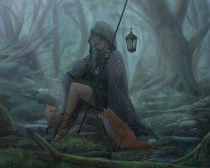 Rating: Safe Score: 102 Tags: animal braids cape cropped dark elbow_gloves eyepatch forest fox gloves gray_hair hoodie necklace original tree yohan1754 User: mattiasc02
