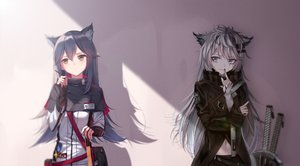 Rating: Safe Score: 62 Tags: 2girls animal_ears arknights black_hair brown_eyes gloves gray_eyes gray_hair lappland_(arknights) long_hair scar shokoori sword texas_(arknights) weapon wolfgirl User: Nepcoheart