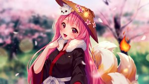 Rating: Safe Score: 39 Tags: animal blush cherry_blossoms fang fire flowers fox foxgirl hat hyanna-natsu japanese_clothes long_hair multiple_tails original pink_eyes pink_hair spring tail watermark User: otaku_emmy