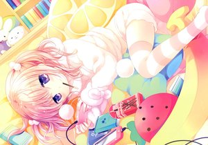 Rating: Safe Score: 66 Tags: book chocolate food game_console hoodie navel original pajamas phone pink_hair pocky purple_eyes scan short_hair shorts tagme_(artist) thighhighs twintails zettai_ryouiki User: Nepcoheart