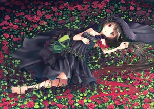 Rating: Safe Score: 92 Tags: barefoot bicolored_eyes black_hair dress flowers long_hair makadamixa original rose User: RyuZU