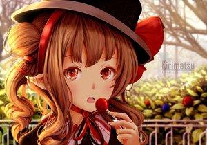 Rating: Safe Score: 95 Tags: blush brown_hair candy choker close hat leaves lollipop original red_eyes sigit_dwiky watermark User: mattiasc02