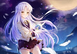 Rating: Safe Score: 75 Tags: angel_beats! feathers gray_hair long_hair miaoguujuun_qvq moon night signed skirt sky stars tachibana_kanade yellow_eyes User: BattlequeenYume