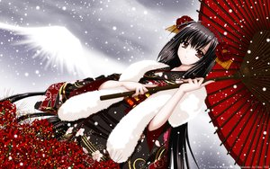 Rating: Safe Score: 217 Tags: flowers japanese_clothes nishimata_aoi red_eyes umbrella vector wings yukata User: gnarf1975