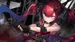 Rating: Safe Score: 87 Tags: abarabone anthropomorphism blood cz-75_(girls_frontline) girls_frontline gloves gun long_hair red_eyes red_hair signed torn_clothes twintails weapon User: otaku_emmy