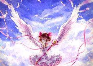 Rating: Safe Score: 77 Tags: brown_hair card_captor_sakura clouds collar dress kinomoto_sakura momoko_(artist) ribbons sky staff wings User: Wiresetc