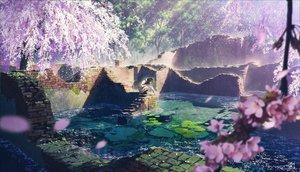 Rating: Safe Score: 104 Tags: black_hair cherry_blossoms mocha_(cotton) original petals ruins signed tree water User: RyuZU