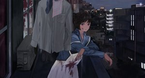 Rating: Safe Score: 34 Tags: apron black_hair blood blue_eyes building city dark maoyasumisumi original short_hair User: Dreista