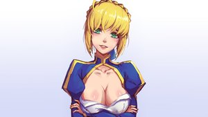 Rating: Safe Score: 97 Tags: artoria_pendragon_(all) blonde_hair braids breast_hold breasts cleavage fate_(series) fate/stay_night gradient green_eyes mool_yueguang saber User: Hakha