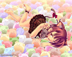 Rating: Safe Score: 24 Tags: animal animal_ears barefoot bell bow breasts catgirl cleavage dress fang mouse ribbons short_hair tail User: 秀悟