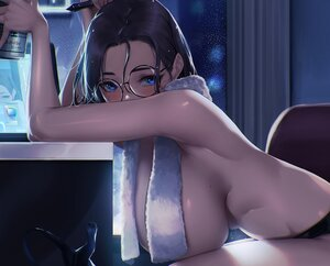 Rating: Questionable Score: 168 Tags: blue_eyes blueorca blush breasts brown_hair computer cropped drink glasses original topless towel User: BattlequeenYume