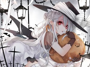Rating: Safe Score: 68 Tags: aliasing animal bat candy cross dress gloves gradient halloween hat kuroi_(liar-player) lollipop long_hair original pumpkin red_eyes see_through signed white_hair wings witch_hat User: BattlequeenYume