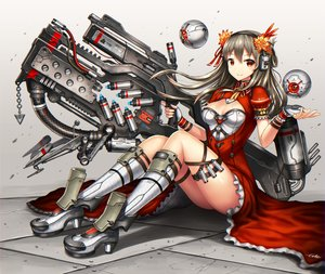 Rating: Safe Score: 149 Tags: breasts cleavage gia gloves gray_hair gun long_hair original red_eyes signed weapon User: SciFi