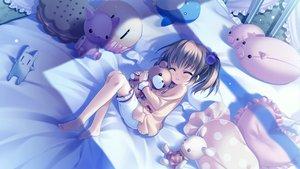 Rating: Safe Score: 155 Tags: barefoot bed brown_hair cabbit doll game_cg loli long_hair midori_no_umi sleeping tsumugi_(midori_no_umi) yukie User: Katsumi