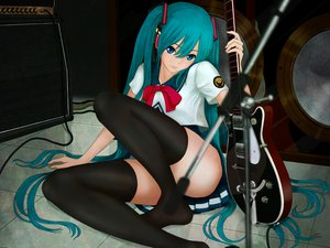 Rating: Safe Score: 151 Tags: aqua_hair aruk guitar hatsune_miku instrument long_hair nopan seifuku thighhighs twintails vocaloid User: Wiresetc