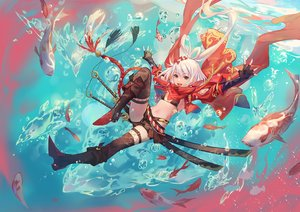 Rating: Safe Score: 52 Tags: animal atdan bikini_top boots bow brown_eyes fish long_hair navel shorts sword thighhighs underwater water weapon white_hair User: RyuZU