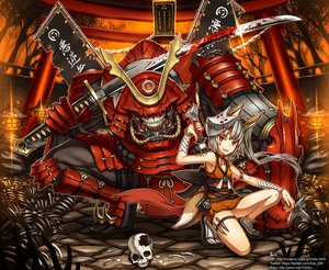 Rating: Safe Score: 213 Tags: animal_ears armor bandage blood foxgirl gia gray_hair katana long_hair mask orange_eyes original skull sword tail tattoo watermark weapon User: Flandre93