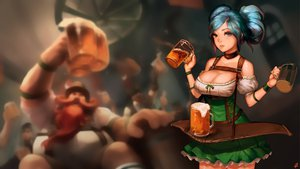 Rating: Safe Score: 303 Tags: aqua_hair breasts choker cleavage dress drink instant-ip league_of_legends signed sona_buvelle waitress User: opai