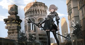 Rating: Safe Score: 158 Tags: brown_eyes brown_hair building city clouds elbow_gloves gloves original short_hair skirt sky swav thighhighs weapon User: BattlequeenYume