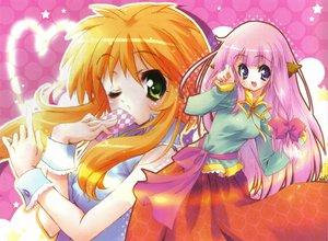 Rating: Safe Score: 13 Tags: animal_ears blue_eyes green_eyes jpeg_artifacts orange_hair pink pink_hair User: Oyashiro-sama