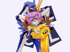 Rating: Safe Score: 24 Tags: boots flcl gainax gloves goggles haruhara_haruko motorcycle pink_hair sadamoto_yoshiyuki scarf short_hair signed white yellow_eyes User: Oyashiro-sama