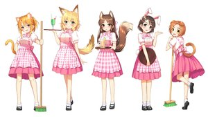 Rating: Safe Score: 71 Tags: animal_ears apron black_eyes blonde_hair blush bow brown_eyes brown_hair bunny_ears bunnygirl catgirl cherry doggirl drink food foxgirl fruit go-1 green_eyes ice_cream idolmaster idolmaster_cinderella_girls loli long_hair orange_(fruit) orange_hair ponytail ryuuzaki_kaoru sakurai_momoka sasaki_chie short_hair skirt socks tachibana_arisu tail waitress yellow_eyes yuuki_haru User: otaku_emmy