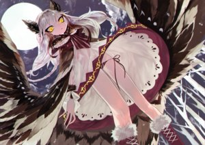 Rating: Safe Score: 101 Tags: animal_ears boots dress judy6241 long_hair moon original white_hair wings yellow_eyes User: FormX
